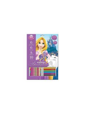 Набор для рисования Disney Принцессы мелки + карандаши. Цвет: фиолетовый