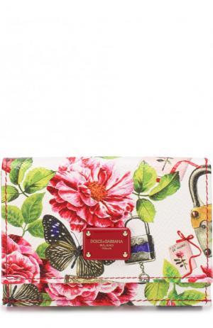 Кожаное портмоне с цветочным принтом клапаном Dolce & Gabbana. Цвет: белый