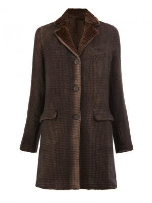 Пальто в клетку Avant Toi. Цвет: коричневый