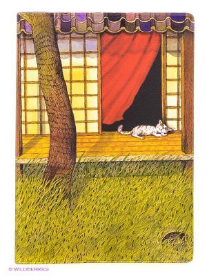 Обложка для автодокументов Белый кот на окне Mitya Veselkov. Цвет: оливковый, коричневый, желтый