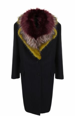 Шерстяное пальто с меховой отделкой воротника Dries Van Noten. Цвет: темно-синий