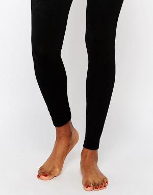 Plush Вязаные колготки на флисовой подкладке без носка. Цвет: черный