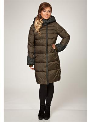 Стеганое пальто D`imma. Цвет: хаки