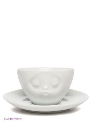 Кофейная пара МИМИКА: ПОЦЕЛУЙ Tassen. Цвет: белый