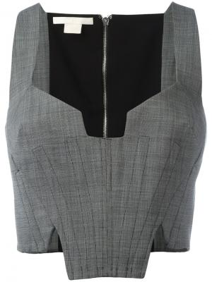 Укороченный топ-корсет Antonio Berardi. Цвет: серый
