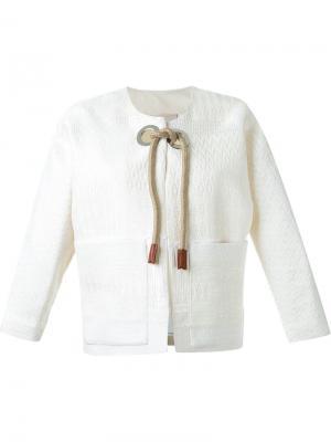 Пальто с веревочными завязками Erika Cavallini. Цвет: белый