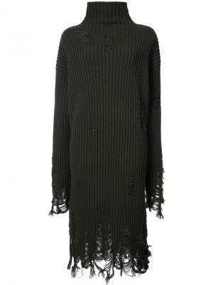 Платье-свитер с отделкой из бахромы Yang Li. Цвет: зелёный