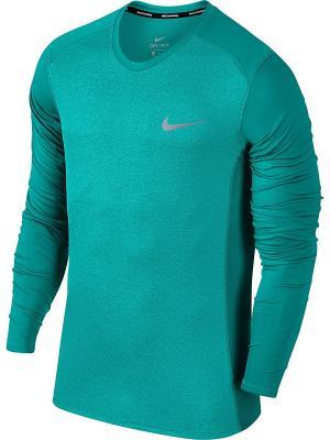 Лонгслив M DRY MILER TOP LS Nike. Цвет: морская волна