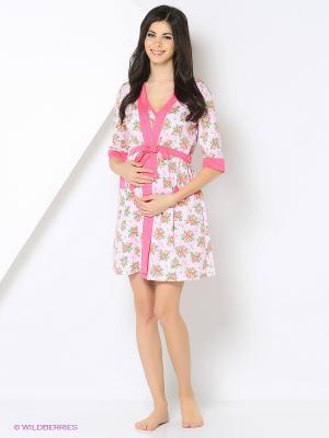 Комплект для беременных и кормления ( халат, ночная сорочка) 40 недель. Цвет: розовый, фуксия