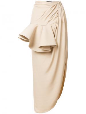 Асимметричная юбка с разрезом Jacquemus. Цвет: телесный