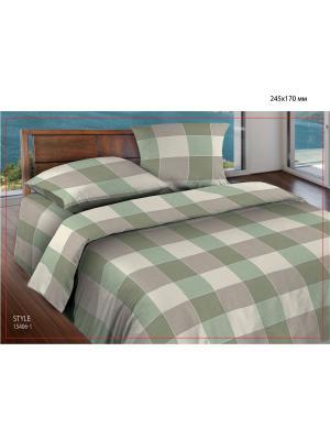 Комплект постельного белья 2,0 бязь  Style Wenge. Цвет: зеленый, серый