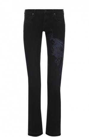 Укороченные джинсы с бахромой и вышивкой в виде дракона Citizens Of Humanity. Цвет: черный