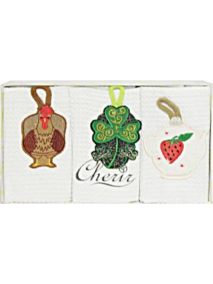 Набор полотенец для кухни - 3шт. (40*60) Dorothy's Home. Цвет: белый, зеленый, коричневый, красный