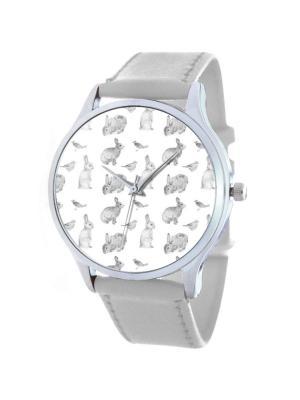 Дизайнерские часы Кроличий узор Tina Bolotina. Цвет: серый, белый