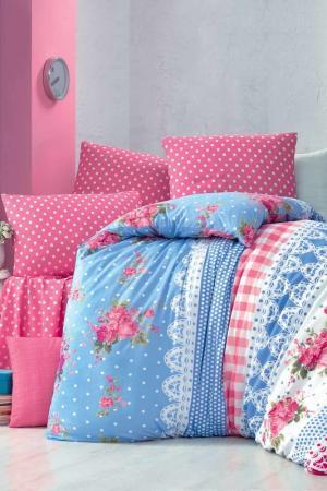 Комплект постельного белья Victoria. Цвет: blue, white, pink, green