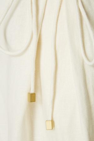 Льняные брюки со шнуровками ZIMMERMANN. Цвет: бежевый