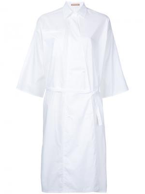 Поплиновое платье с запахом Dalen Nehera. Цвет: белый