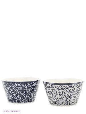 Набор салатников  Арабески бело-синие Elan Gallery. Цвет: белый, синий