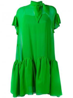 Жоржетовое расклешенное мини-платье Delpozo. Цвет: зелёный