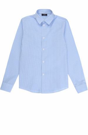 Хлопковая рубашка в клетку Dal Lago. Цвет: голубой