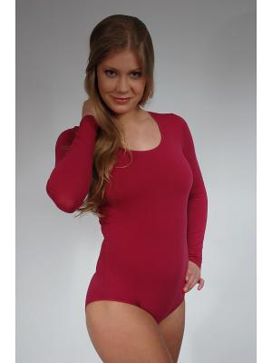 Блузка- боди Lowry. Цвет: бордовый