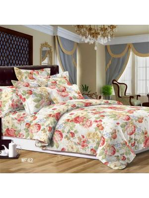 Комплект постельного белья, сатин, евро, пододеяльник на молнии Letto. Цвет: бежевый,розовый,желтый,зеленый