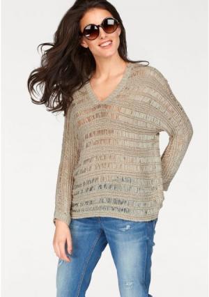 Пуловер Aniston. Цвет: песочный
