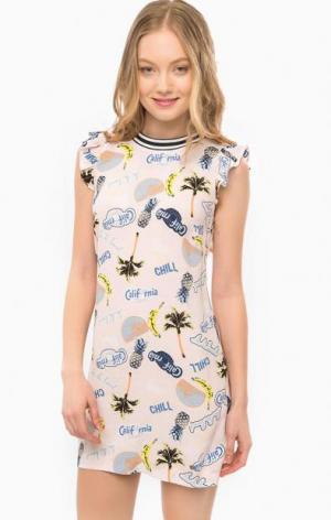 Короткое розовое платье с ярким принтом Juicy by Couture. Цвет: розовый