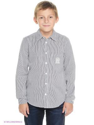 Рубашка Finn Flare. Цвет: темно-синий, белый