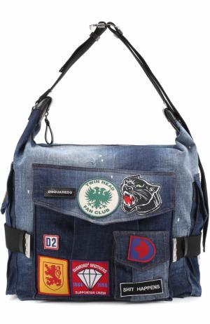 Дорожная сумка из денима с контрастными нашивками Dsquared2. Цвет: синий