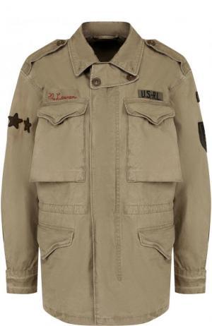 Хлопковая ветровка с накладными карманами и погонами Polo Ralph Lauren. Цвет: бежевый