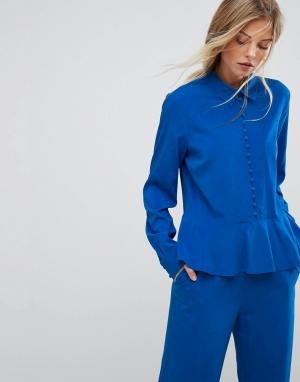 Gestuz Расклешенная блузка от комплекта с пуговицами. Цвет: синий