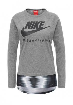 Лонгслив Nike. Цвет: серый