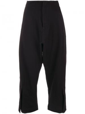 Укороченные брюки с присборенным поясом Y-3. Цвет: чёрный