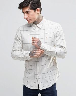 Farah Белая рубашка слим с графическим принтом в клетку. Цвет: белый