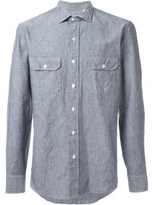 Рубашка с накладным карманом Salvatore Piccolo. Цвет: синий