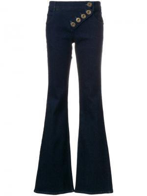 Асимметричные расклешенные брюки Chloé. Цвет: синий