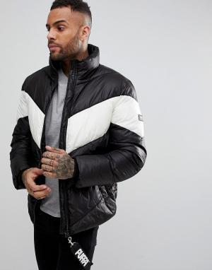 Puffa Дутая куртка с шевронообразной вставкой. Цвет: черный