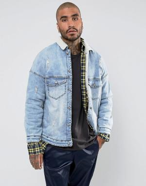 Sixth June Синяя джинсовая куртка с подкладкой и воротником из искусственного мех. Цвет: синий