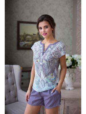 Комплект (шорты, топ) Mia-Mia. Цвет: светло-серый, лиловый