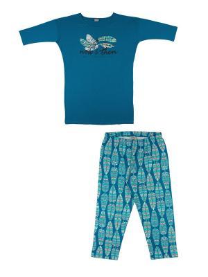 Комплект женский (туника, бриджи) Family Colors. Цвет: морская волна