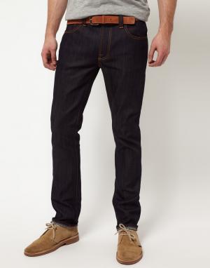 Nudie Jeans Зауженные джинсы из сухого органического денима со строчкой Jean. Цвет: синий