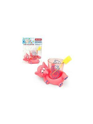 Подставка со стаканом для зубных щеток СЛОНИКИ VALIANT. Цвет: розовый