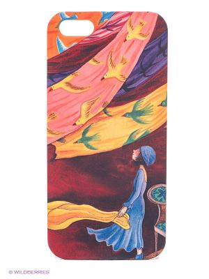 Чехол для IPhone 5 Платки и птицы-1 Mitya Veselkov. Цвет: красный, голубой