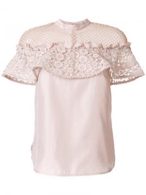Блузка с кружевными вставками Self-Portrait. Цвет: розовый и фиолетовый