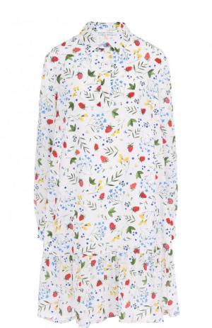 Шелковое мини-платье свободного кроя с цветочным принтом Alexander Terekhov. Цвет: белый