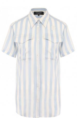 Шелковая блуза с накладными карманами в полоску Rochas. Цвет: голубой