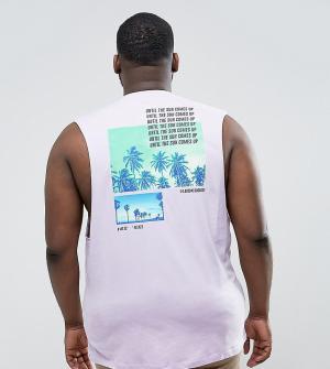 ASOS Футболка без рукавов с пальмами на спине PLUS. Цвет: фиолетовый