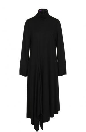 Шерстяное платье-миди с воротником-стойкой Yohji Yamamoto. Цвет: черный