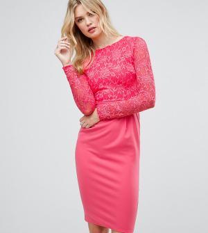 City Goddess Tall Кружевное платье-футляр миди с длинными рукавами. Цвет: розовый